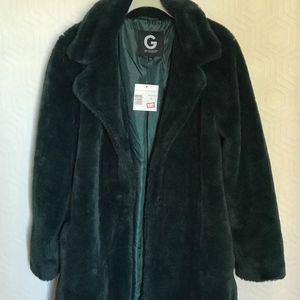GUESS Green Fur Coat NWT size M